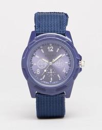 Темно-синие часы милитари с брезентовым ремешком Reclaimed Vintage