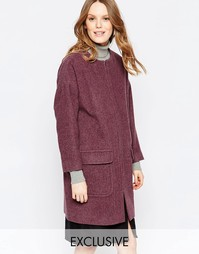 Пальто ягодного цвета на молнии спереди Helene Berman - Ягодный меланж