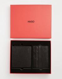 Складной кожаный бумажник и визитница в подарочной упаковке Hugo Boss