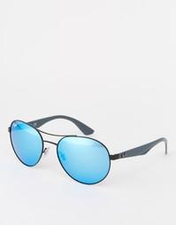 Зеркальные солнцезащитные очки в круглой оправе Ray-Ban - Синий