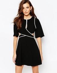 Платье с контрастной отделкой и вырезами BCBG MaxAzria Gracelynn