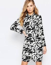 Платье с длинным рукавом и черным графическим принтом Sisley - Черный
