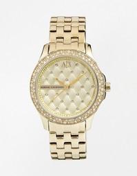 Золотые часы со стразами AX5216 Armani Exchange Lady Hampton - Золотой