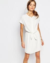 Белое платье с завязкой на поясе Suncoo - Белый