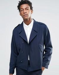 Темно-синяя строгая куртка с отделкой в стиле милитари ASOS