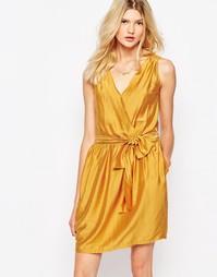 Платье мини горчичного цвета с запахом Sessun - Желтый