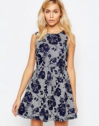 Короткое приталенное платье в полоску Madam Rage - Темно-синий