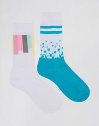 2 пары спортивных носков с геометрическим дизайном ASOS - Белый
