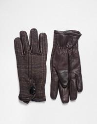 Кожаные перчатки с отделкой в клеточку Peter Werth - Коричневый