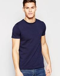 Темно-синяя футболка слим с логотипом-флажком Tommy Hilfiger