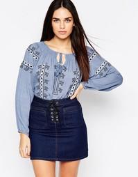 Блузка с вышивкой и завязкой на горловине Hazel - Indigo - индиго
