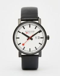 Часы с датой и черным кожаным ремешком Mondaine 40 мм - Черный