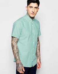 Зеленая оксфордская рубашка слим с короткими рукавами Lindbergh
