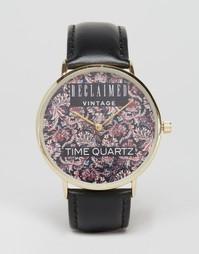 Часы с принтом пейсли и черным кожаным ремешком Reclaimed Vintage