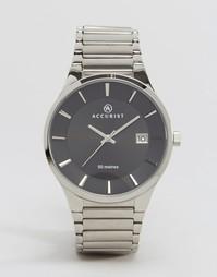 Серебристые наручные часы с черным циферблатом Accurist - Серебряный