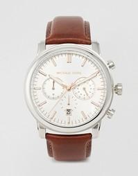 Часы-хронограф с коричневым кожаным ремешком Michael Kors Landaulet MK