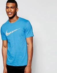 Синяя футболка с принтом пальм на логотипе-галочке Nike 779690-435