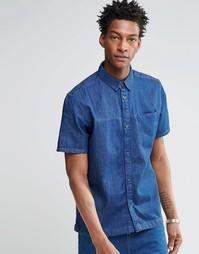 Синяя классическая джинсовая рубашка с короткими рукавами Waven Josef