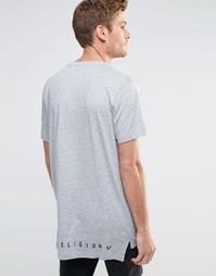 Длинная футболка с логотипом True Religion - Вереск-серый