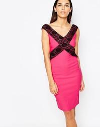 Платье-футляр с кружевной отделкой Vesper Beau - Розовый