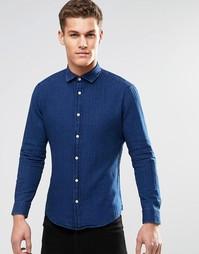 Рубашка зауженного кроя с длинными рукавами Esprit - Темный синий