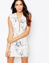 Облегающее платье с глубоким вырезом и мраморным принтом Rare