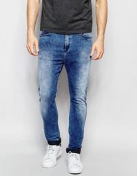 Суженные книзу джинсы с заниженным шаговым швом из эластичного марморн Replay