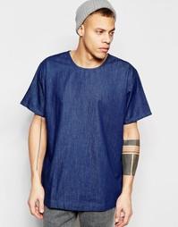 Темно-синяя футболка с круглым вырезом Waven Denim Magnus - Синий