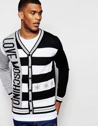 Кардиган с полосками и логотипом Love Moschino - Черный