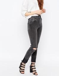 Серые джинсы в винтажном стиле с прорехами ASOS FARLEIGH - Серый