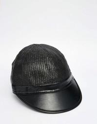 Черная соломенная кепка с козырьком из искусственной кожи ASOS