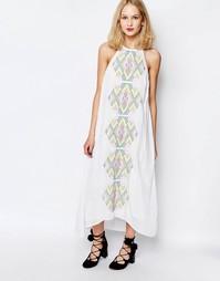 Платье макси с вышивкой Piper Bima - Белый