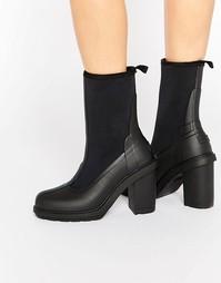 Черные резиновые сапоги на каблуке с эффектом носка Hunter Original
