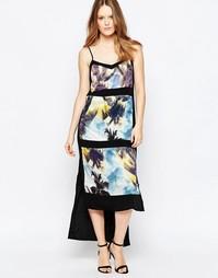 Платье макси с пальмовым принтом и вставками Suboo - Синий