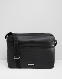 Кожаная сумка почтальона Tommy Hilfiger - Черный