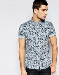 Джинсовая рубашка зауженного кроя с короткими рукавами и лиственным пр Asos
