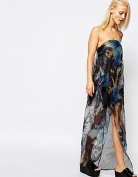 Прозрачное платье макси без бретелей с пальмовым принтом Suboo