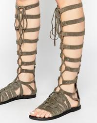 Серые высокие сандалии-гладиаторы Free People - Серый