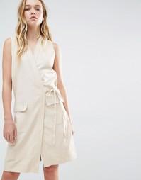 Платье без рукавов с запахом спереди Neon Rose - Бежевый