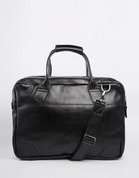 Большой кожаный портфель на молнии Royal RepubliQ Nano - Черный