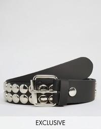 Кожаный ремень с заклепками Reclaimed Vintage - Черный