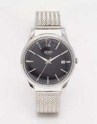 Серебряные наручные часы с плетеным дизайном ремешка Henry London Edge