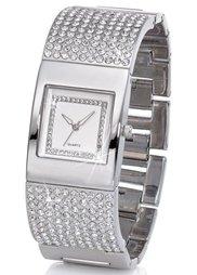 Сверкающие часы на металлическом браслете (золотистый) Bonprix