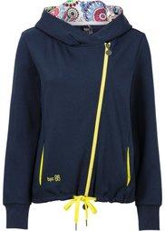Трикотажная куртка с асимметричной застежкой-молнией (серый меланж/ярко-розовый неон) Bonprix