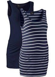Мода для беременных: танк-топ (2 шт.) (нефритовый + нефритовый/белый ) Bonprix