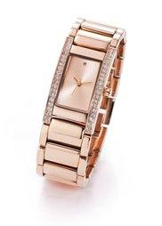 Часы на металлическом браслете с 1 брильянтом и 38 камнями Сваровски (серебристый) Bonprix