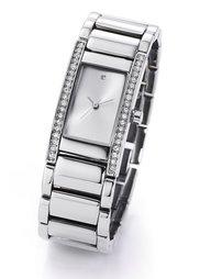 Часы на металлическом браслете с 1 брильянтом и 38 камнями Сваровски (розово-золотистый) Bonprix