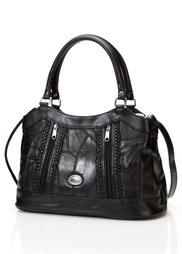 Кожаная сумка Пэч с плетеной аппликацией (черный) Bonprix