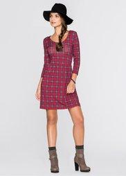 Трикотажное платье (темно-красный в клетку) Bonprix