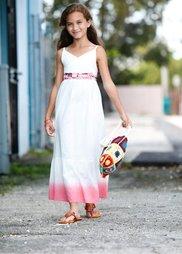 Макси-платье в стиле батик с вышивкой, Размеры  116-170 (белый/ярко-розовый) Bonprix